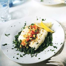 Saffron-Scented Halibut with Spinach, Zucchini and Tomato
