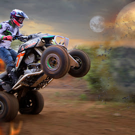 TO THE PORTHOLE by Ronel Broderick - Digital Art People ( flames, moon, outdoors, quad bike, sport, helmet, jump )