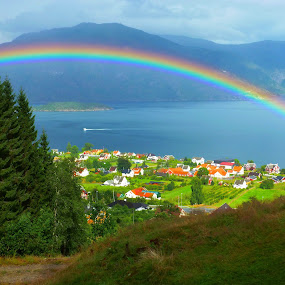 Over the Rainbow by Andrea Clayton - Novices Only Landscapes ( lake, landscape, rainbow )