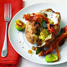 Baked Potatoes with Brussels Sprouts and Bacon