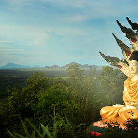 Buddha & Seven Head Dragon by Kyaw Thura - Novices Only Landscapes