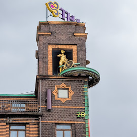 Danish clock by Vibeke Friis - Buildings & Architecture Office Buildings & Hotels ( copenhagen, clock with figure on building, denmark,  )