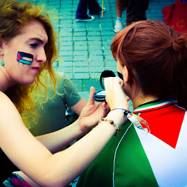 Protest held to show solidarity and support for the Palestinian plight.  by Lyndsay Hepburn - News & Events World Events ( edinburghfreepalestineprotest, protestfacepainting, edinburghsupportspalestine, rightofreturnforpalestinians, israelkillchildren )