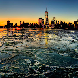 Freedom Tower from Jersey City by Gary Aidekman - Landscapes Sunsets & Sunrises ( cold, ice, new york city, sunrise, freedom tower, hudson river )