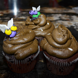Poo cakes by Kimberley Dumas - Food & Drink Cooking & Baking ( cupcakes, brown, poo, spca, flies,  )
