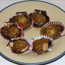 BBQ Curried Scallops in Shell