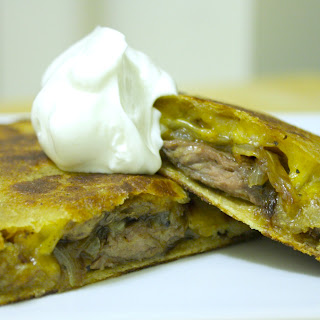Steak, Onion, and Mushroom Quesadilla