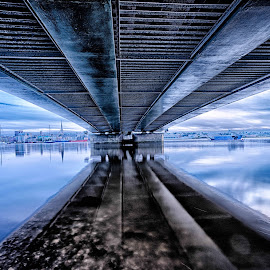 Under The Bridge by Myles Lambert - Buildings & Architecture Bridges & Suspended Structures ( #wexfordharbour, #lamberthdr, #underthebridgehdr, #moodyunderthebridgehdr, #irisharchitecture )