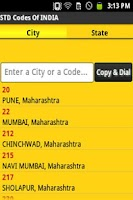 Screenshot of STD Codes of India