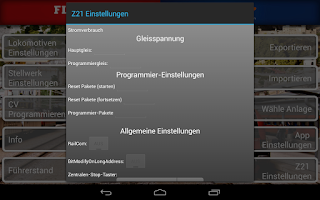 Screenshot of Z21 mobile