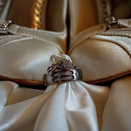 Golden Wedding by George Brandon - Wedding Details ( shoes, wedding, artistic, wedding dress, jewelry, rings, object, wedding details, Wedding, Weddings, Marriage )
