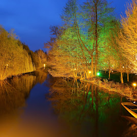 River of Colour by Yusuf Nurrachman - City,  Street & Park  Night ( water, lighting, park, night, boat, light, river,  )