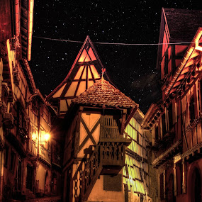 La nuit à Eguisheim by Pierre Husson - City,  Street & Park  Historic Districts ( old street, eguisheim, night photography, france, alsace )