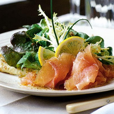 Smoked wild Irish salmon with chive pancakes