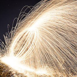 Sparks by Cosmin Pascariu - Abstract Fire & Fireworks ( steel wool, trace, fireworks, night, light )