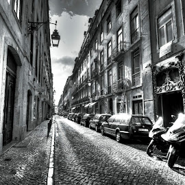 Streets of Lisboa by Chris Adam - Buildings & Architecture Homes ( old, black and white, architecture, lisbon, portugal, lisboa, rays, sun )
