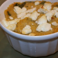 Basil Corn Cream & Goat Cheese Bake