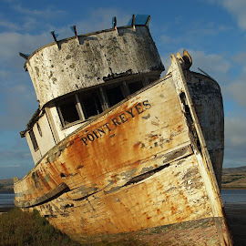 Point Reyes Shipwreck by JR Hudson | Scenic Edge - Transportation Boats ( point reyes, trawler, inverness california, point reyes shipwreck, inner, shipwreck, tomales bay, inverness )