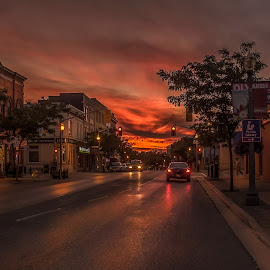 Streets of Bowmanville by Jack Brittain - City,  Street & Park  Street Scenes ( canada, bowmanville, sunset, street, ontario )