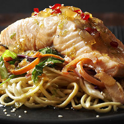 Sticky Salmon Noodles