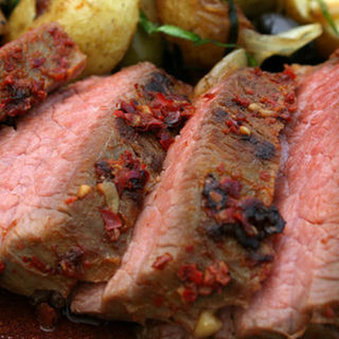 Marinated Tri-Tip with Chinese Mustard Sauce and Roasted Green Onions ...