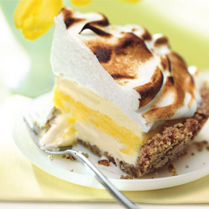 Lemon Meringue Ice Cream Pie in Toasted Pecan Crust Recipe | Yummly