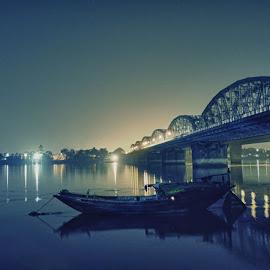 The Nightingle by Anik Bhattacharya - Landscapes Travel ( ganga, transport, kolkata, bhattacharya, india, night, bridge, boat, anik, river, nightscape )