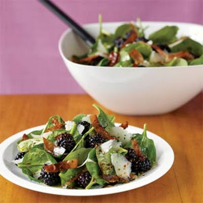 Spinach-Blackberry Salad with Manchego and Prosciutto