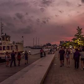 Toronto Harbourfront at dusk by Jack Brittain - City,  Street & Park  Street Scenes ( lake ontario, harbourfront, canada, toronto, sunset, street, ontario )