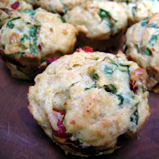 Savory Spinach, Feta, and Roasted Red Pepper Muffins