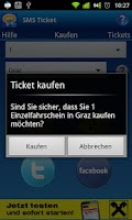 Screenshot of SMS Ticket Österreich