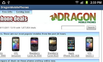 Screenshot of Dragon Mobile Phones