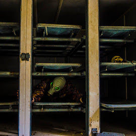 CHILLING - The body fridges in an abandoned mortuary  by Darren Darkhaunter - Novices Only Portraits & People ( skull, gasmask, body fridges, model, urbex, chilling, mortuary, death, abandoned )