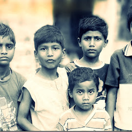 Group of Poor Kids by D'pak Das - People Group/Corporate