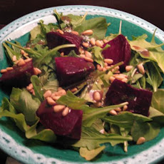 Roasted Beets With Toasted Pine Nuts and Arugula