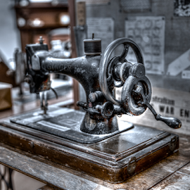 Singer by Allyn Cooper - Artistic Objects Antiques ( antiques and memorabilia, hdr, singer, treadle, sewing machine, farming, western australia )