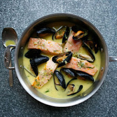 Poached Salmon with Saffron Sauce