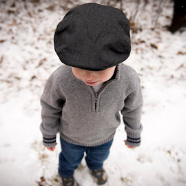 My New Hat by Justin Harger - Babies & Children Toddlers ( sweater, sweet, winter, cold, snow, depth of field, innocence, toddler,  )