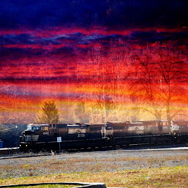 Train pulling out with the Coal by Linda Blevins - Transportation Trains (  )