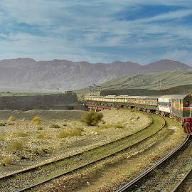 Bolan Pass ! by Agha Ahmed - Transportation Trains ( railroad tracks, sky, railway, engine, railroad, train, tracks, landscape )