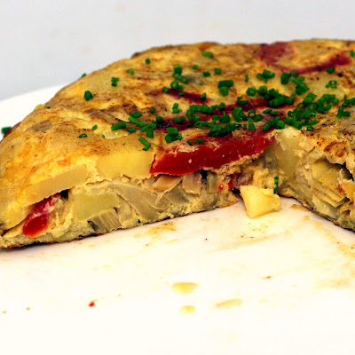 Potato Tortilla with Artichokes and Red Peppers