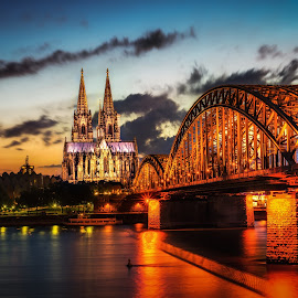 Cologne Cathedral by Aaron Choi - Buildings & Architecture Places of Worship ( cologne, europe, german, koln, tourism, travel, architecture, köln, rhine, catholicism, catholic, european, sunset, germany, night, cathedral, bridge, hohenzollern, river )