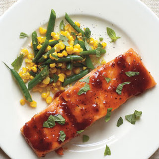 Barbecue-Glazed Salmon With Green Beans and Corn
