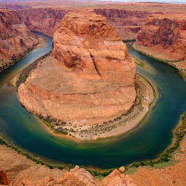 Horseshoe Bend by Paul Brady - Landscapes Deserts ( curve, colorado river, page, arizona, canyon, wide-angle, landscape, horseshoe bend )