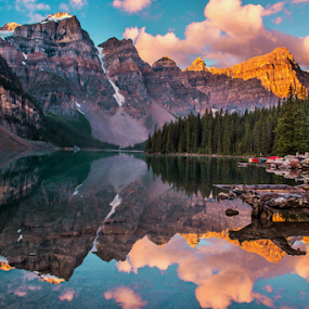 Moraine Lake, by Joseph Law - Landscapes Waterscapes ( national park, blue sky, rocky mountains, trees, reflections, shine upon, sunrise, woods, banff, moraine lake )