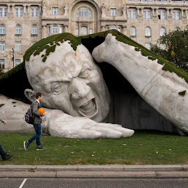 Art installation in Budapest by Andrew Robinson - Buildings & Architecture Statues & Monuments ( ervin loránth hervé, budapest, feltépve, gresham palace hotel, art installation )