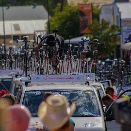 Top Bike by Sean Heatley - Sports & Fitness Cycling ( roof, south australia, support, fitness, crew, australia, bicycle race, street, sport, adelaide, bicycle, tour down under )