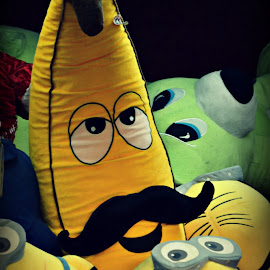 One Mustached Banana and a Side of Minions  by Wendie Simonson - Artistic Objects Toys ( minions, banana, carnival game, carnival, toys, disney )