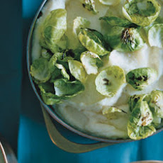 Parsnip Purée with Sautéed Brussels Sprouts Leaves