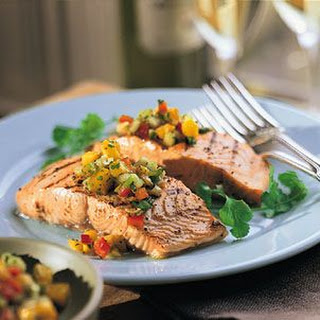Grilled Salmon Fillets with Mango-Cucumber Salsa